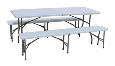 Ensemble table et 2 bancs pliants 210 cm